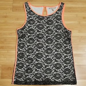 Banana Republic Lined Lace Tank with Neon Trim